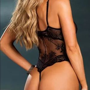 "1feba388114 SexyThang Intimates   Sleepwear - ""MIDNIGHT MADNESS"" Black Sheer Lace Thong  Teddy"